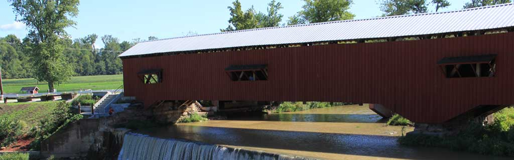 Covered Bridge scene, Access to Parke County, Indiana